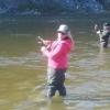 Kellie fishing in the park.